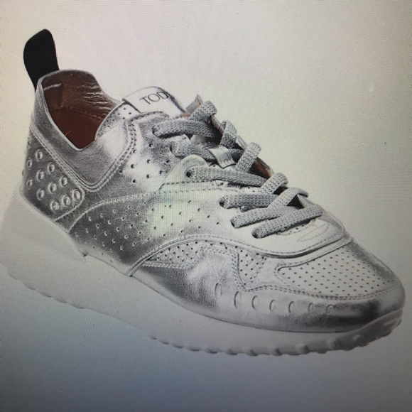 Tods Metallic Leather Sneakers